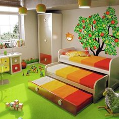 Creative bedroom design love the space saving! Bunk Bed Designs, Kids Bunk Beds, Low Loft Beds, Bed With Drawers, Stair Drawers, Nursery Room, Child's Room, Boy Room, Girls Bedroom