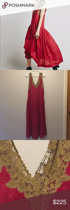 Mes Demoiselles Free People Nymphe Maxi Dress Sz 8 Nymphe Maxi Dress by Mes Demoiselles Paris sold by Free People Dress is called red but more of a dark raspberry to me. Size 40 US SIZE 8 Perfect for summer New, never worn. Inside tag has been cut to prevent store returns.  Was not sold with a slip but you will likely need to wear one.  Style: 34475749 Lightweight, sheer drop waist maxi dress featuring delicate side button closures. V-neckline with contrast lace trim and raw edges.   100%…