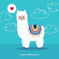 Alpaca background with love concept Vector Alpaca Illustration, Cute Illustration, Cute Alpaca, Llama Alpaca, Cute Wallpaper Backgrounds, Cute Wallpapers, Adobe Illustrator, Alpaca Drawing, Cartoon Llama