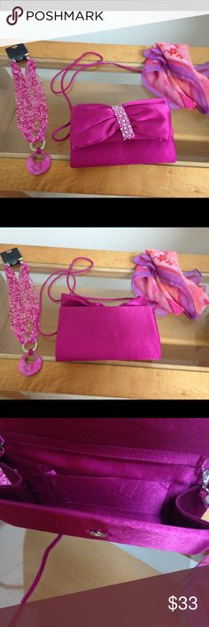 Hot Pink Purse & Necklace & Scarf! Hot Pink Purse & Necklace & Scarf! none Bags Clutches & Wristlets