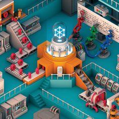 An Artificial Neural Network Forms Its Own Memories - D-brief — Discover Low Poly, 3d Design, Game Design, Flat Design, Desing Inspiration, 3d Cinema, Artificial Neural Network, Isometric Art, Isometric Design