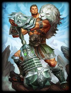 Hercules Lion of Olympus Skin (Smite) Hercules Mythology, Roman Mythology, Greek Mythology, Fantasy Art Men, Fantasy Armor, Fantasy Weapons, Fantasy Character Design, Character Art, Fantasy Creatures
