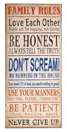 Family Rules Quote Wall Art ♥