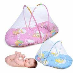 Amazon.com: #gib Portable Baby Bed Crib Folding Mosquito Net Infant Cushion Mattress Pillow IGN (Pink):