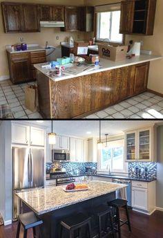 Architecture Renovation, Home Renovation, Home Remodeling, Kitchen Remodeling, Bathroom Renovations, New Kitchen Cabinets, Kitchen Redo, Kitchen Ideas, Cupboards