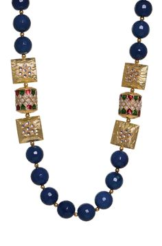 Sapphire Kundan Necklace Rs. 3275/- http://www1.juvalia.in/what-s-new/the-big-fat-wedding/sapphire-kundan-necklace.html #weddingjewellery #necklace #blue #ethnic #bridal