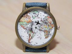 Wristwatch world map denim watch travel clock wrist watch Mens Watches For Sale, Cheap Watches, Vintage Watches For Men, Cool Watches, Unique Watches, Women's Watches, Elegant Watches, Watches Online, Affordable Watches