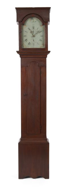 Early American Country Red-Painted Tall Clock.