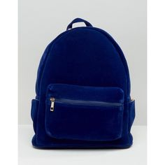 Daisy Street Velvet Backpack ($34) ❤ liked on Polyvore featuring bags, backpacks, blue, velvet bags, backpack bags, blue velvet bag, rucksack bag and day pack backpack