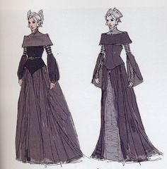 Padme' Amidala Star Wars: Episode II - Attack of the Clones. Packing Gown. http://www.padawansguide.com/padme/silver/padme_packing_concept.jpg