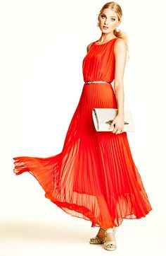 bright orange pleated maxi dress.  oh the joys of spring.  :)