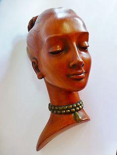 ACHATIT GERMANY VINTAGE LADY HEAD WALL PLAQUE RETRO 60's HANDARBEIT PETER LUDWIG