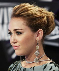 Miley Cyrus Formal Curly Updo Hairstyle - Medium Brunette - side view 2