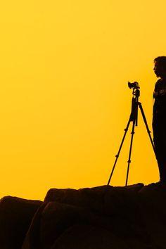 Free stock photo of camera, photographer, yellow, silhouette