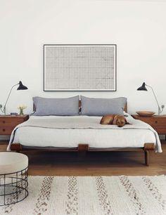 Navy Interior Design: Los Angeles Master Bedroom, Walnut Bed and Nightstands, Verner Panton Stool, Mantis Table Lamp