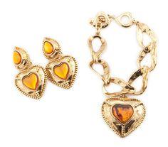 YSL Yves Saint Laurent Vintage Heart Earrings & Bracelet Set, at Sareh & Jones - London, authentic secondhand vintage designer jewellery jewelry