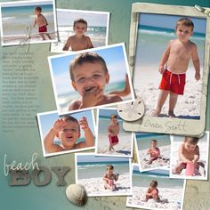 completed digital scrapbook pages beach