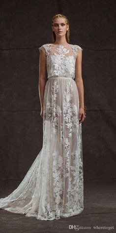 Modest Two Pieces Lace Limor Rosen Wedding Dresses 2016 Lace Applique Floral See Through Full Length Cap Sleeve Custom…
