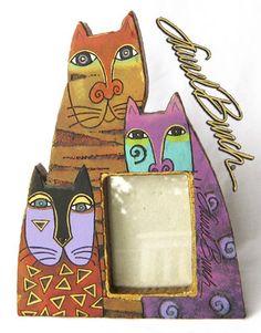 Laurel Burch RARE 1999 3 Cat Triple Cat Photo Frame   eBay