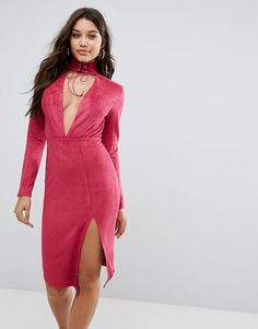 Ginger Fizz Plunge Front Midi Bodycon Dress With Tie Choker Detail