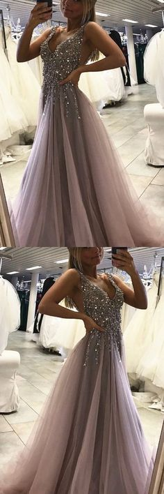 Sexy Side Split Prom Dress,Sleeveless Tulle Evening Dress,Long Party Dress 10722