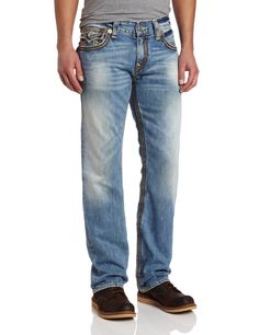 True Religion Men's Ricky Straight Fit Multi Color Big QT Stitched Jean  Price: $268.00