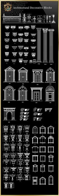 Architektonische dekorative Blöcke   FREE CAD BLOCKS & ZEICHNUNGEN DOWNLOAD CENTER
