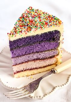 """Stephcookie of Raspberri cupcakes said that the first time she cut in to the gorgeous violet ombre cake she'd made for her birthday she """"did a little Pretty Cakes, Beautiful Cakes, Amazing Cakes, Best Birthday Cake Recipe, Cool Birthday Cakes, Birthday Blast, Purple Birthday, Cake Birthday, Happy Birthday"""