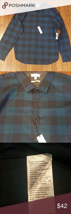 Calvin Klein 2XL Slim fit Button down 100% cotton,  blue /black plaid, extra buttons Calvin Klein Shirts Casual Button Down Shirts