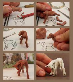 Lamb by Kerri Pajutee Polymer Clay Sculptures, Polymer Clay Animals, Ceramic Animals, Polymer Clay Miniatures, Polymer Clay Projects, Sculpture Clay, Polymer Clay Art, Sculpting Tutorials, Felting Tutorials
