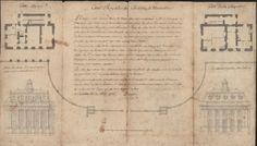 [VERSAILLES]. [Plan et élévation de la Cour Royale]. Projet et élévation de la cour royale du château de Versailles par Charles Lecuyer (177...
