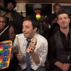 Watch Jimmy Fallon and Robin Thicke perform 'Blurred Lines' with toys