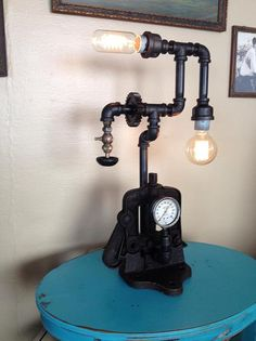 Steampunk Lamp from a vintage pipe clamp
