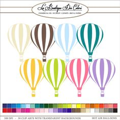 50 Hot air Balloons Clip Art, travel Digital illustrations in 50 rainbow colors. Balloon flying PNG, clipart, image Commercial Use
