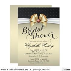 White & Gold Ribbon with Red Diamond Bridal Shower Card