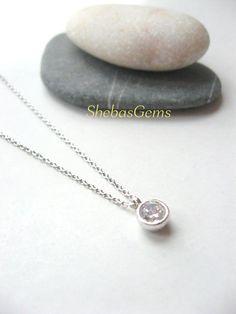 Dainty Jewelry, Bezel set cz diamond solitaire necklace