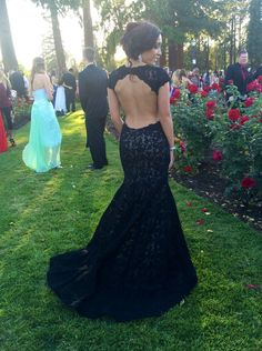 Sexy Mermaid Backless Lace Long Capped Prom Dresses/Evening Dresses LAPD-7409