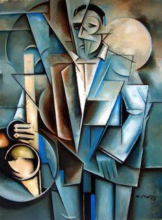 Jazz Painting - Transfiguration by Martel Chapman Art Pop, Cubist Art, Abstract Art, Pinturas Art Deco, Jazz Painting, Futurism Art, Picasso Cubism, Art Deco Paintings, Jazz Poster