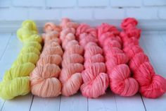 hand dyed yarn, gradient yarn, Cashmere - 710 yards/650 meters, gradient yellow-red/280 grams by PositiveCreative on Etsy