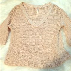 Free People Open Knit Sweater Beautiful open knit sweater, light pink color, can be worn as off the shoulder. 3/4 length sleeves. No picks or flaws! Free People Tops