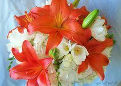 orange lily w/ white freesia