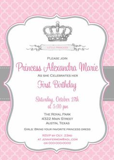Birthday Invitation  Princess Crown for Girl by BellePrintables, $12.50