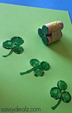 Wine Cork Shamrocks | 24 Super Fun St. Patrick's Day Crafts For Kids