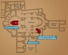 What and where: A floor plan of Jerusalem's Church of the Holy Sepulchre, with the Edicule chamber marked in red on the left