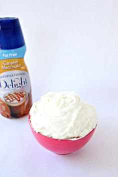 1 cup (2 sticks) unsalted butter softened at room temperature  –1/2 cup fat free caramel macchiato gourmet coffee creamer  –4 cups of powdered sugar