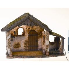 Fontanini Nativity Lighted Stable for Scale Figurines Lighted Creche Christmas Manger, Christmas Crafts For Kids, Christmas Decorations, Christmas Ideas, Nativity Stable, Diy Nativity, Fontanini Nativity, Christmas Program, Ceramic Houses