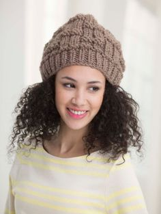 This chunky, textured hat is easy to make and fun to wear. Knit the matching scarf and have a complete set - for yourself or to gift!