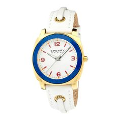 SPERRY Ladies Top-Sider Summerlin Leather Watch ($70) ❤ liked on Polyvore featuring jewelry, watches, white, women's watches, white wrist watch, leather wrist watch, dial watches, braid jewelry and leather watches