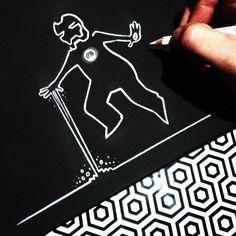 """""""Superhero La Linea"""" series by Stefano Di Lollo  (Prismacolor white pencil #PC938, Fabriano black Ingres sketchbook). *My tribute to Osvaldo Cavandoli's """"La Linea"""""""