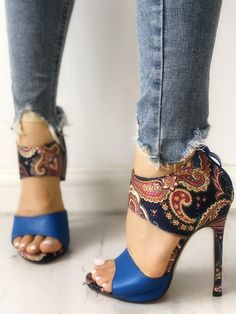 c2c33569cc37 Ethnic Style Open Toe Thin Heeled Sandals Ankle Strap Sandals